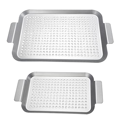 Grill Basket Set of 2 – Nonstick Grilling Tray Durable Grill Pans with Holes for Outdoor Grill Small and Big Topper…