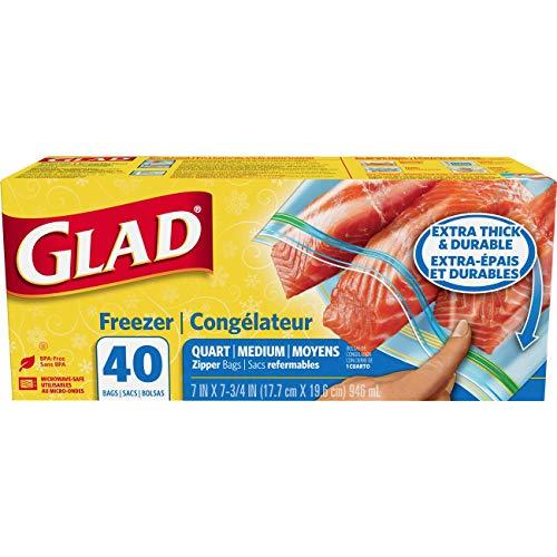 Glad Zipper Food Storage Freezer Bags - Quart - 40 Count - P