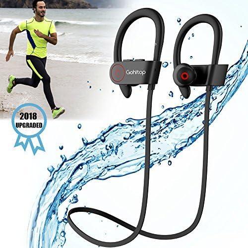 Running Headphones, Best Sports Wireless Bluetooth Earbuds Mic IPX7 Waterproof Sweatproof Workout Noise Cancelling HD Stereo in Ear Gym 8 Hour Battery Headsets Man Women 2018 Upgraded