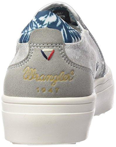 Sneaker On Silver Slip Laminated Silber 04 Basse Wrangler Sheena Donna Argento TfIq44