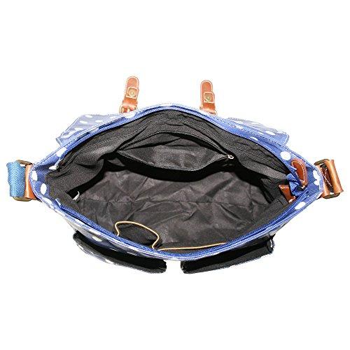 Satchel Spot Fashion Dot Ladies Polka Handbag White Blue amp; Oilcloth IBw404Zq