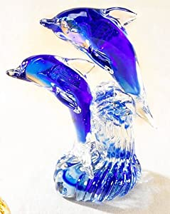 8'' Glass Dolphin Figurine