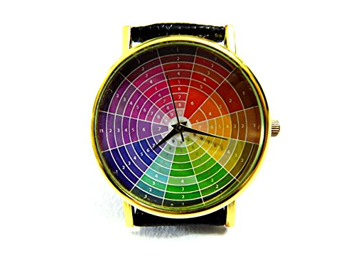 (Color Wheel Watch, Color Wheel Leather Watch, Bracelet Watch, Handmade Watch, Genuine Leather Bracelet Watch P183)