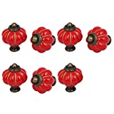 uxcell Home Office Furniture Ceramic Pumpkin Shape Pull Handle Knob Red 7pcs