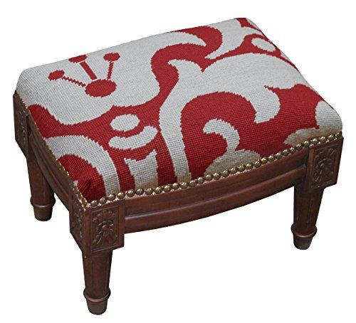SketchONE Wool Needlepoint Upholstered Footrest, Damask, Red/Gray