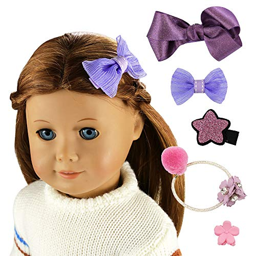 Barwa 5 PCS Hair Accessories Purple Hair Band + Hairpin + Big Butterfly Hairpin + Small Bowknot Hairpin + Star Hairpin for 18 Inch American Girl