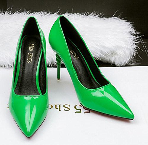 CHFSO Green Stiletto Solid Heel Low Work On Pointed Classic Top Womens Mid Toe Slip Shoes Pumps rRSZwUnrq