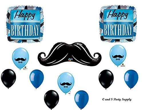 BLUE & BLACK MUSTACHE BIRTHDAY Balloons Decorations Supplies