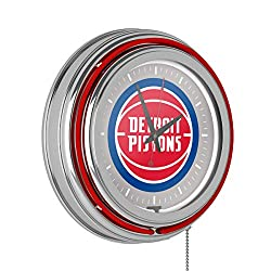 Detroit Pistons NBA Chrome Double Ring Neon Clock