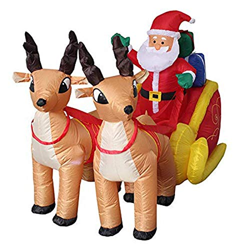 Viet-SC Inflatable Bouncers - 210cm Giant Inflatable Santa Claus Double Deer Sled Blow Up Fun Toys for Child Halloween Party Prop LED Lighted 1 PCs]()
