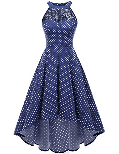 (DRESSTELLS Women's Vintage 50's Bridesmaid Halter Floral Lace Cocktail Prom Party Hi-Lo Dress Navy Small White Dot)