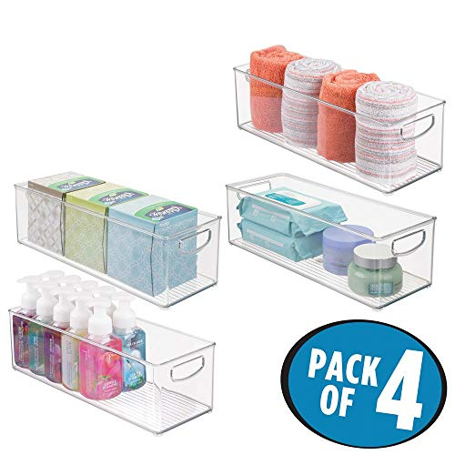 mDesign Storage Bins with Built-in Handles for Organizing Hand Soaps, Body Wash, Shampoos, Lotion, Conditioners, Hand Towels, Hair Accessories, Body Spray, Mouthwash - 16'' Long, 4 Pack - Clear by mDesign (Image #2)