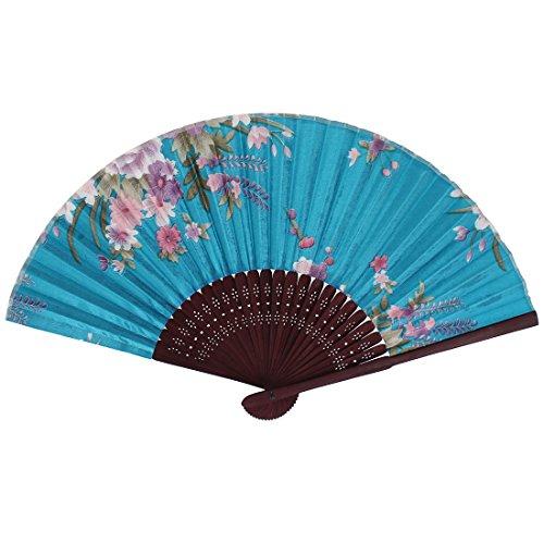 uxcell Wooden Ribs Fabric Flower Pattern Dancing Folding Hand Fan Sky Blue