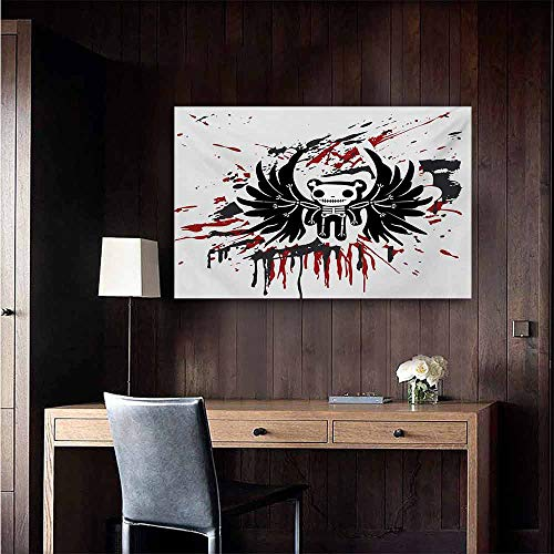 duommhome Halloween Chinese Classical Oil Painting Teddy Bones with Skull Face and Wings Dead Humor Funny Comic Terror Design for Living Room Bedroom Hallway Office 20