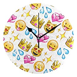 NMCEO Round Wall Clock Emoji Best Acrylic Original Clock for Home Decor Creative