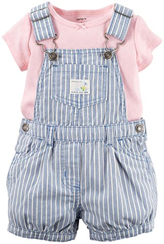 Carter's Baby Girls' Collection Denim Shortall, Blue, New Born