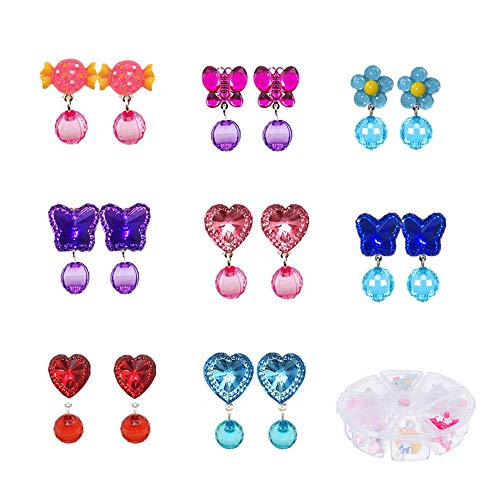 MeetRade Little Girls Clip on Earrings Princess Play Earrings Pretend Play Dress Up for Party Favor Birthday Gifts Baby Girl Jewelry Set (8pairsE)