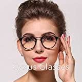 Cyxus Retro Round Frame Clear Lens, Fashion Classic Woman/man Eyewear