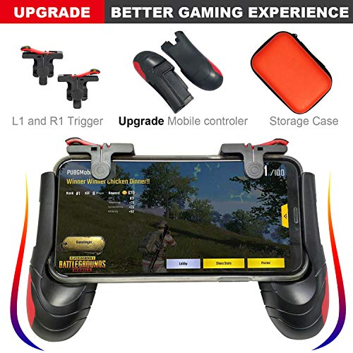Mobile Game Controller [Upgrade Version] - TaiGeek PUBG Mobile Controller with Gaming Trigger,Gaming Grip for 4.5-6.5inch Android IOS Phones (1 Pair+1 Grip)