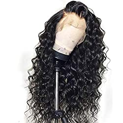 Curly Human Hair Wigs For Women Black Color Brazilian Lace Wig Frontal Plucked Full End Can Make 360 Circle Bun,Natural Color,16inches