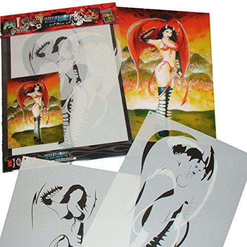 Schneidmeister ArtShield Sexy Devil Chick Heels and Wings Stencil Airbrush Template, 11
