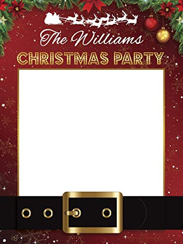 Santa Claus Belt Personalize Photo Booth Frame Prop with Xmas Decor, Christmas Party, X-mas, Christmas Photo Booth, Christmas frame, Holiday photo booth, Selfie Frame Sizes 36x24, 48x36