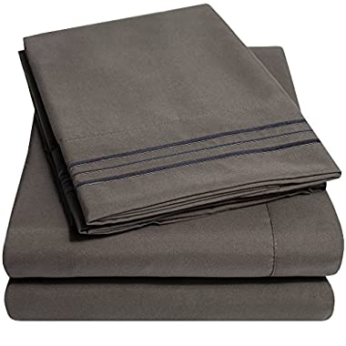 1500 Supreme Collection Bed Sheets - PREMIUM QUALITY BED SHEET SET & LOWEST PRICE, SINCE 2012 - Deep Pocket Wrinkle Free Hypoallergenic Bedding - Over 40+ Colors & Prints - 3 Piece, Twin, Gray