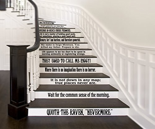 """GMDdecals Classic Literature Book Quotes Set of 12 Wall or Stairs Vinyl Decals [GLOSSY BLACK] Storybook Library Reading Nook Decor 24"""" x 2-4"""" per (Reading Nook)"""