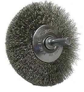"Weiler 17937 Stem Mounted Narrow Face Standard Twist Knot Wire Wheel, 3"" Diameter, 0.014"" Stainless Steel, 20000 rpm"