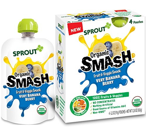 Sprout Organic SMASH, Organic Fruit Snack Pouches, Fruit and Vegetable Puree, Very Banana Berry, 3.2 Ounce, 4 Count