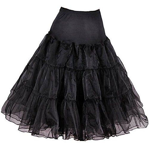 "Petticoat Crinoline. Wonderful petticoat skirt for petticoat dresses, poodle skirts, Vintage dresses, or as Rockabilly Adult Tutu Skirt. Tulle fabric; 26"" length - Black Petticoat,Small / Medium"