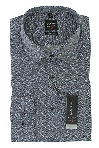 OLYMP Herren Hemd Elegant Sportlich Blau New Kent Body Fit Comfort Stretch Gr.40
