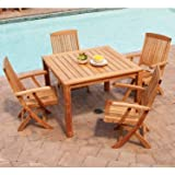 Three Birds Casual 42-Inch Dining Table with Braxton Folding Armchairs Set, Teak Review