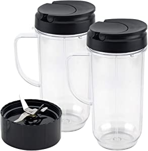 2 Pack 22 oz Tall Cup with Flip Top To-Go Lid and Cross Blade Replacement Parts for Magic Bullet 250W MB1001 Blenders