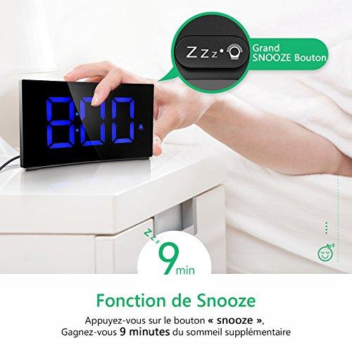 holife - Despertador Digital LED, Reloj Digital Pantalla Curvado operación Simple 3 Sons de Alarma, función Snooze, 4 luminosidad Regulable, 2 Volume Mesa ...