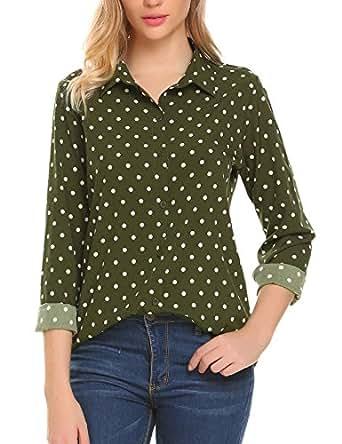 SE MIU Women's Chiffon Long Sleeve Office Button Down Blouse Polka Dot Shirt Tops