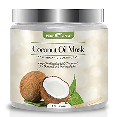 Pure Original Organic Coconut Oil Hair Mask, Natural Hair Care Treatment - Hydrating & Restorative Mask - Promotes Healing and Natural Hair Growth, Repairs Dry and Damaged Hair, 8 oz.