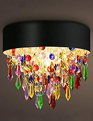 Retro modern luxury ceiling lamp MAX25W Flush Mount Colorful Crystal Ceiling Chandelier , 110-120v-white