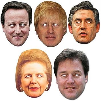 Politicians Politics Mask Pack - Includes Theresa May, David Cameron, Boris  Johnson, Nigel
