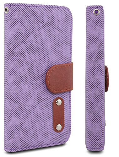 iPhone 5 cases, iPhone 5 cases,iPhone 5 leather case, Case AceTM Denim PU Leather Wallet Type Magnet Design Flip Case Cover with Credit Card Holders for iPhone 5 5G 5S (Purple)