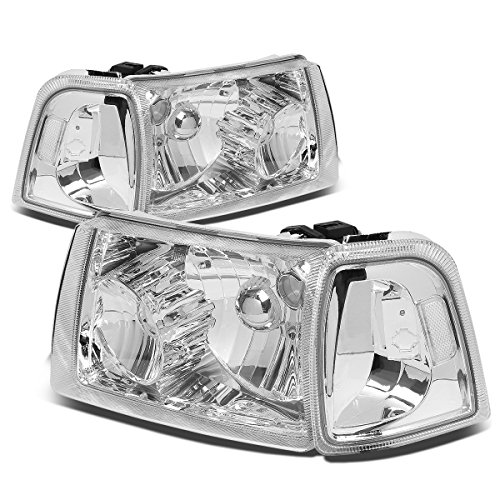 For Ford Ranger 4Pcs Chrome Housing Clear Corner Headlight+Corner Lights Kit Replacement