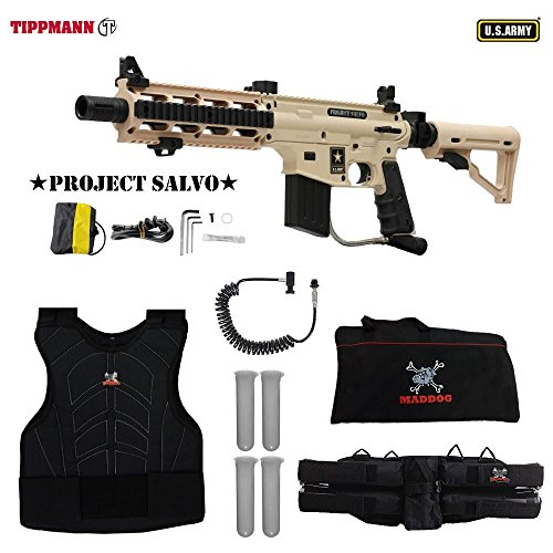 (MAddog Tippmann U.S. Army Project Salvo Sergeant Paintball Gun Package - Tan)