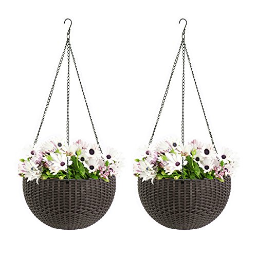 Pack of 2 Self Watering Hanging Flower Plant Pot Chain Basket Planter Holder with Water Level Gauge (Brown)