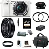 Sony Alpha a6000 (ILCE6000LW ILCE-6000LW ILCE6000L/W) Interchangeable Lens Camera with 16-50mm Power Zoom Lens (White) + Sony SEL-20F28 E-Mount 20mm F2.8 Prime Lens + Sony 32GB SDHC/SDXC Memory Card + Card Reader + Two UV Filters + Replacement Battery + Deluxe Accessory Kit
