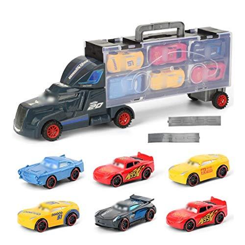 Transport Carrier Truck El transportador de coches de juguete incluye 12 elegantes autos de metal, modelo de camión...