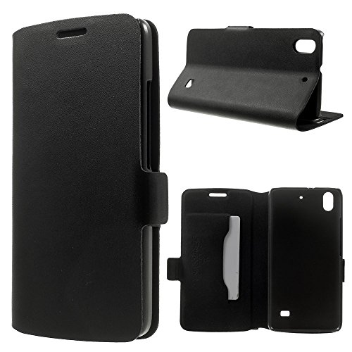 Smays Genuine Leather Card Holder Case with Stand for Huawei Honor 4 Play (Black)