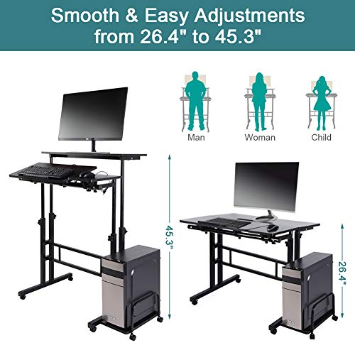 Standing Desk, Height Adjustable Stand Up Desk Home Office Computer Laptop  Workstation With Wheels And