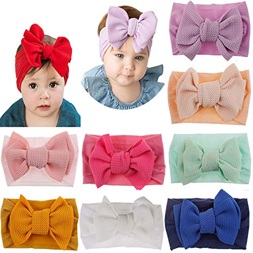 Baby Nylon Knotted Headbands Girls Head Wraps Newborn Infant Toddler Hairbands and Bows (Multicoloured ASMY10621) ()