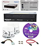 Pioneer 16x BDR-211UBK Internal Ultra HD Blu-ray BDXL Burner, Cyberlink Software and Cable Accessories Bundle with 100pk CD-R Sony 700MB 48X White Inkjet Printable