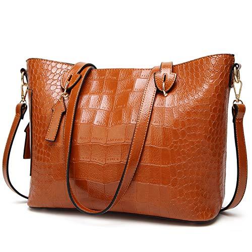 Tote Pattern Handbag Crocodile (ALARION Women Top Handle Satchel Handbags Shoulder Bag Messenger Tote Bag Purse)